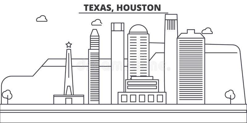 Teksas, Houston architektury linii linii horyzontu ilustracja Liniowy wektorowy pejzaż miejski z sławnymi punktami zwrotnymi, mia ilustracja wektor