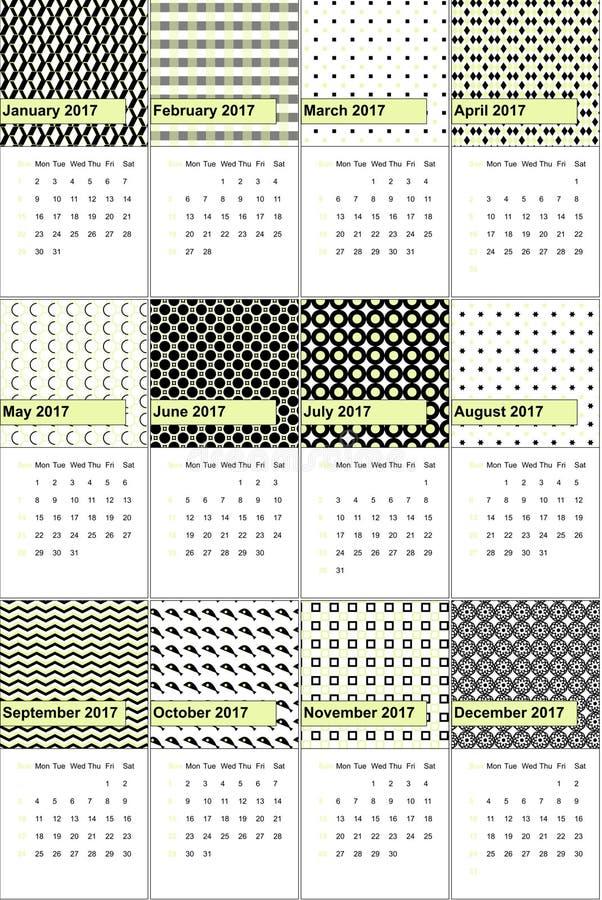 Teksas i czerń barwiliśmy geometrycznego wzoru kalendarz 2016 ilustracji
