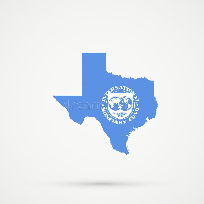 Teksas mapa w Międzynarodowych funduszu monetarnego IMF flagi kolorach, editable wektor obrazy stock