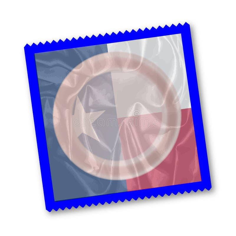 Teksas stanu flaga kondom ilustracja wektor