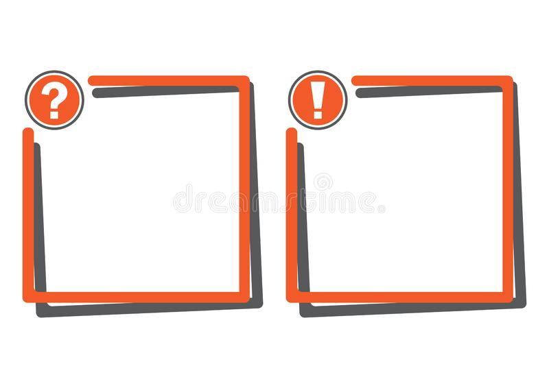 Tekstów pudełka z znak zapytania guzikiem i okrzyk oceną zapinają również zwrócić corel ilustracji wektora ilustracja wektor