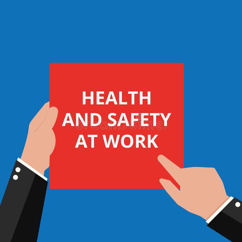 Tekstów szyldowi pokazuje zdrowie i bezpieczeństwo Przy pracą ilustracji
