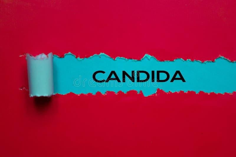 Tekst Candida napisany w rozdartym papierze Koncepcja medyczna fotografia stock