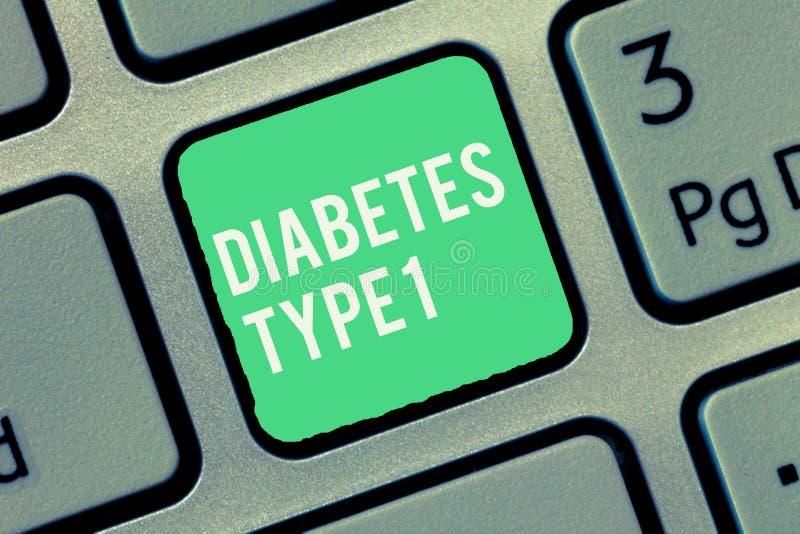 Tekst cukrzyc szyldowy pokazuje typ - 1 Konceptualny fotografia warunek w którym trzustka produkt spożywczy mało lub wcale insuli obraz stock