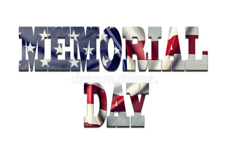 Tekst, dzień pamięci, Biały tło, tekstury chrzcielnica, amerykanin Fla ilustracji