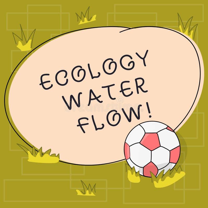 Tekst ekologii wody szyldowy pokazuje przepływ Konceptualny fotografia system dla analysisaging ilości synchronizować i ilość wod ilustracja wektor