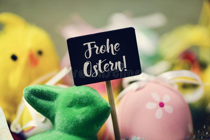 Tekst Frohe Ostern, gelukkige Pasen in het Duits royalty-vrije stock afbeelding