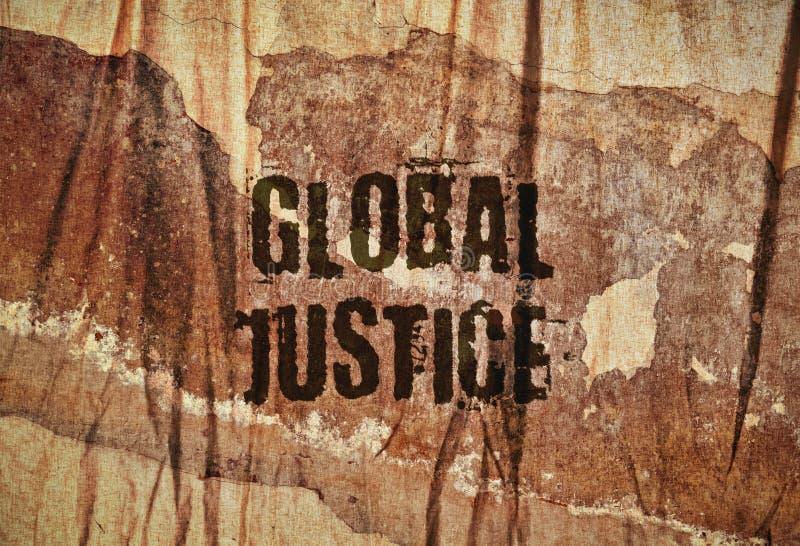 Tekst Globalna sprawiedliwość zdjęcie stock