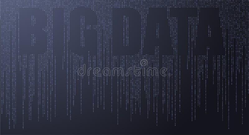 Tekst Grote Gegevens, Conceptontwerp van Signaal die in Ruimte uitzenden - Illustratievector stock illustratie