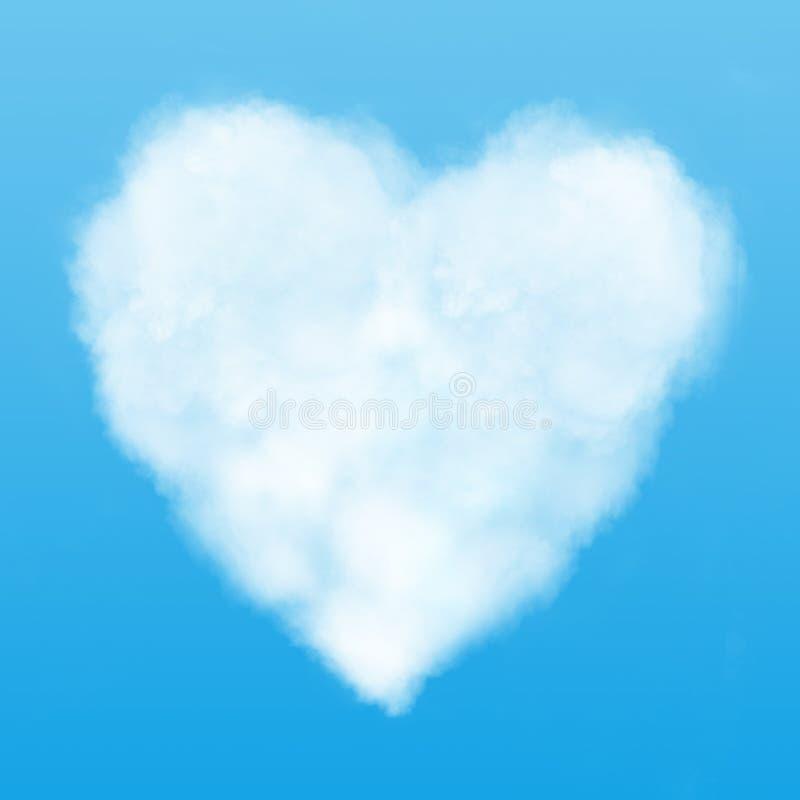 Tekst i serce chmura w niebieskim niebie zdjęcia royalty free