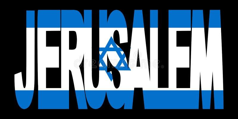tekst Jerusalem bandery ilustracji