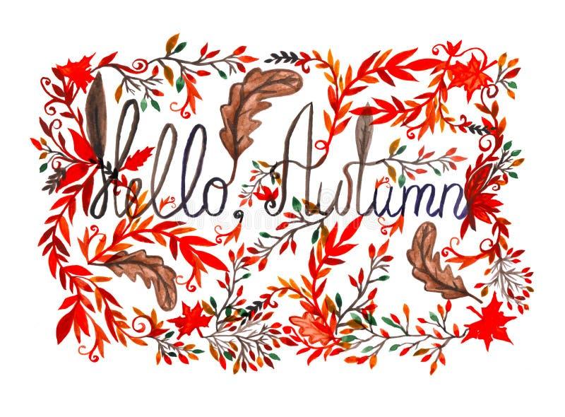 Tekst jesień w ramie z liśćmi Cześć Akwarela malująca ilustracja ilustracji