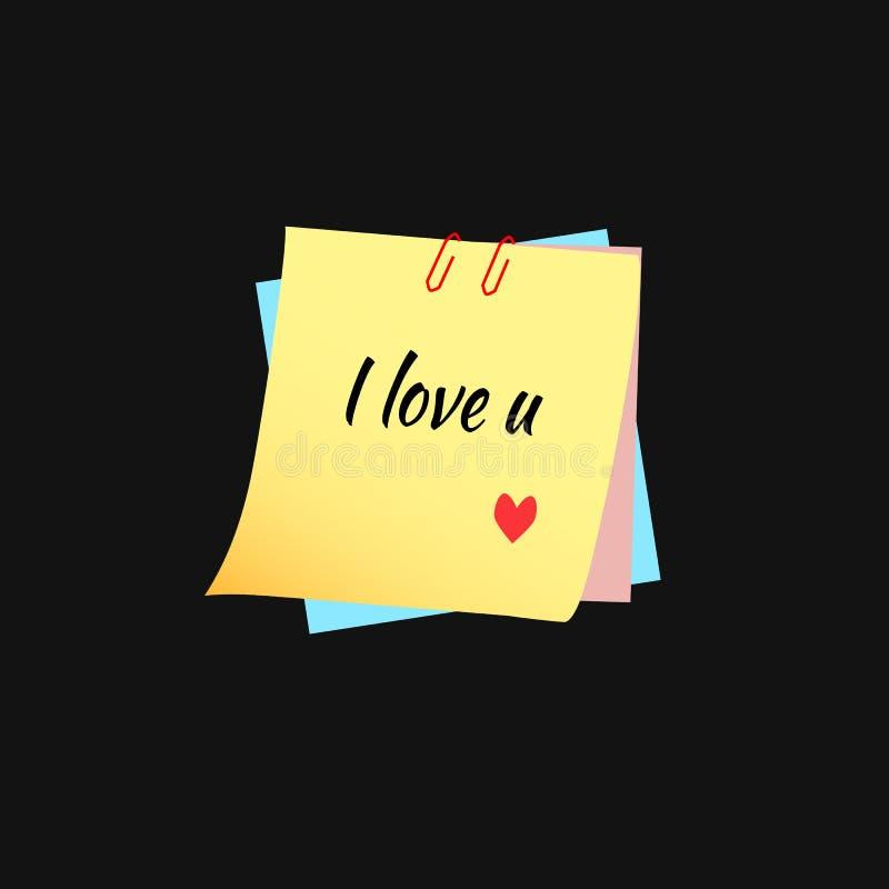 Download Tekst Kocham Ciebie Na Kleistych Notatkach Na Czarnym Tle Ilustracji - Ilustracja złożonej z śliczny, sztandar: 106907149
