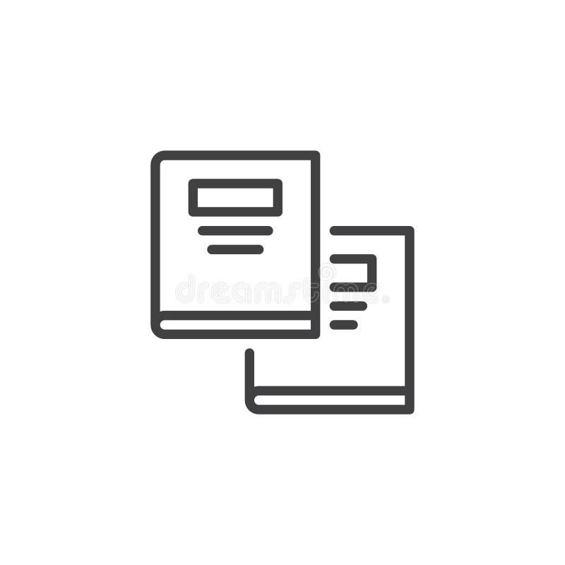 Tekst książek konturu ikona ilustracja wektor