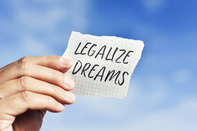 Tekst legalizuje sen w kawałku papieru obraz royalty free