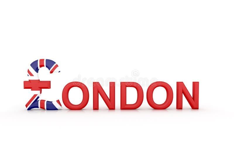 Tekst Londen met muntsymbool royalty-vrije illustratie
