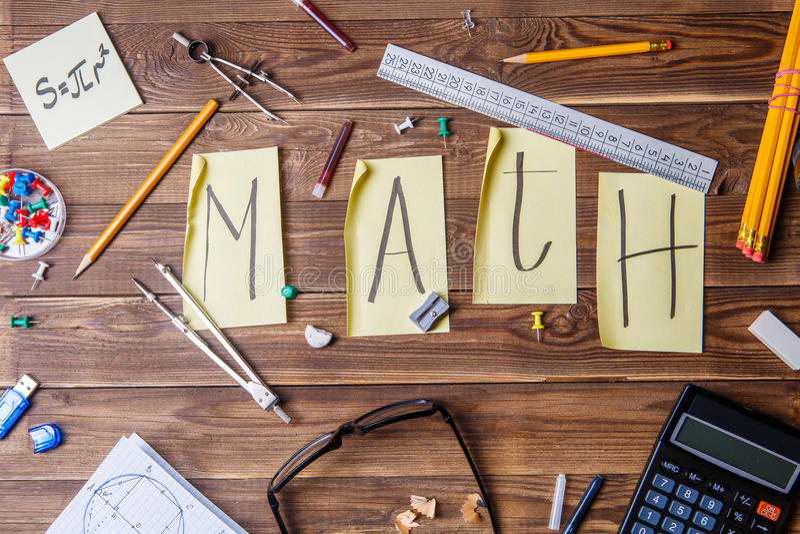 Tekst matematyka komponował majchery z listami zdjęcia royalty free
