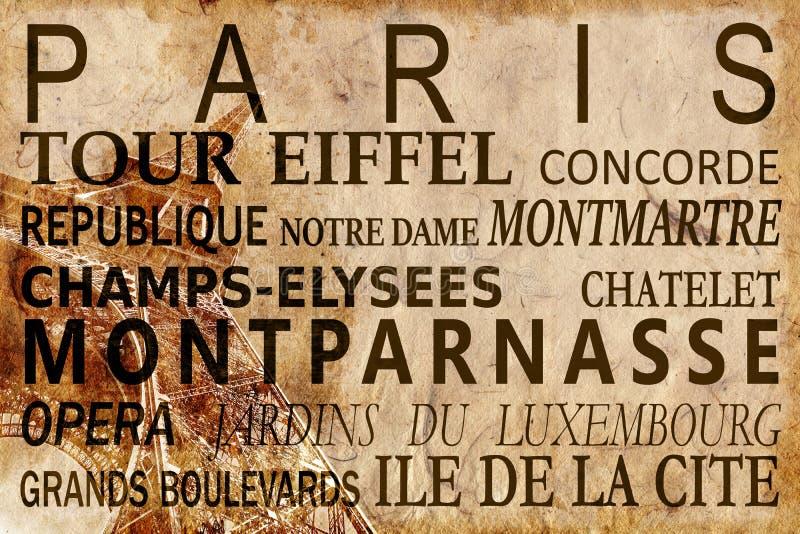 Tekst met de oriëntatiepunten van Parijs op de Toren uitstekende achtergrond van Eiffel royalty-vrije stock foto