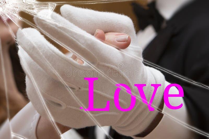 Tekst miłość na łamanym szkle Nieszczęśliwa miłość i łamający sen Tło nieznacznie zamazuje ilustracja wektor