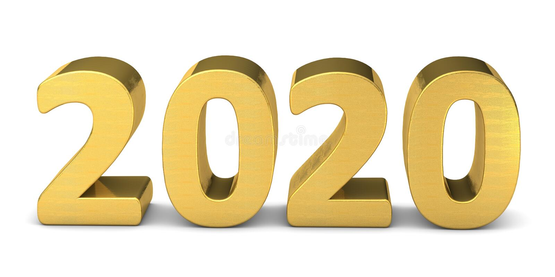 Tekst noworoczny: złoto 2020 3d royalty ilustracja
