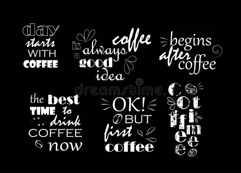 tekst o kawie biel na czarnym tle ilustracji