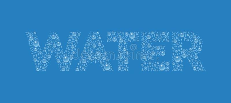 Tekst od kropelki tekstury Słowo woda zdjęcia royalty free