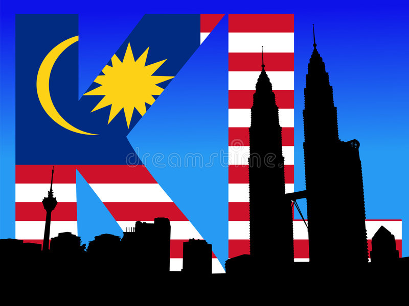 tekst Petronas bandery wieże ilustracja wektor