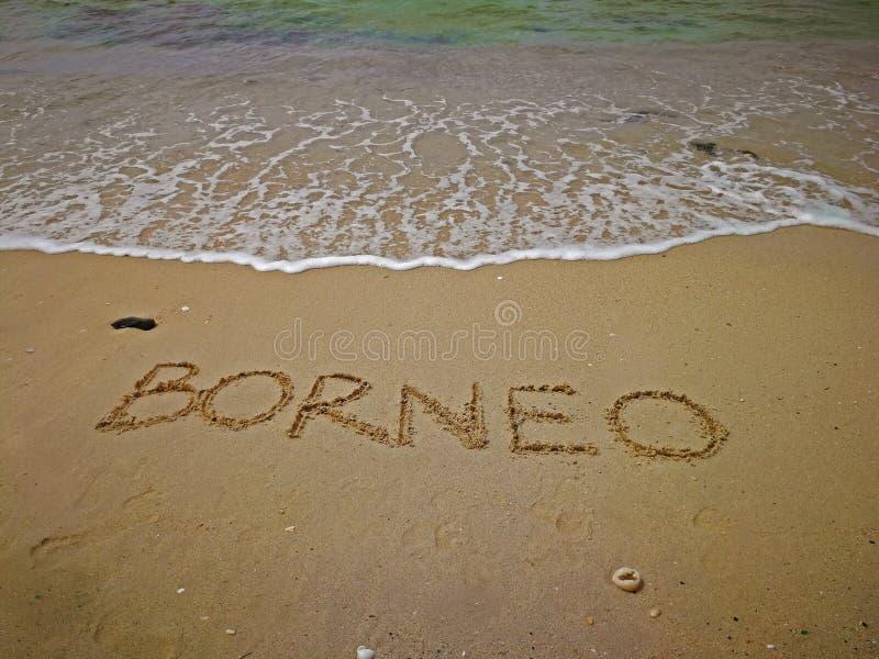 Tekst pisać na piaskowatej plaży, Borneo obraz royalty free