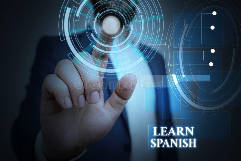 Tekst pisma ręcznego Nauka hiszpańskiego Koncepcja oznaczająca język tłumaczenia w hiszpańskim słowniku słownym dialekt Męskie ub zdjęcie royalty free