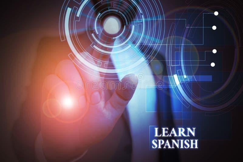 Tekst pisma ręcznego Nauka hiszpańskiego Koncepcja oznaczająca język tłumaczenia w hiszpańskim słowniku słownym dialekt Męskie ub obraz stock