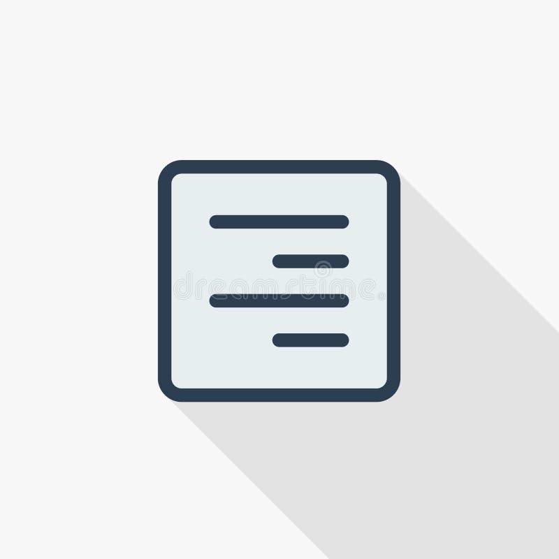 Tekst pozycja redaguje, wyrównanie koloru cienka kreskowa płaska ikona Liniowy wektorowy symbol Kolorowy długi cienia projekt ilustracja wektor