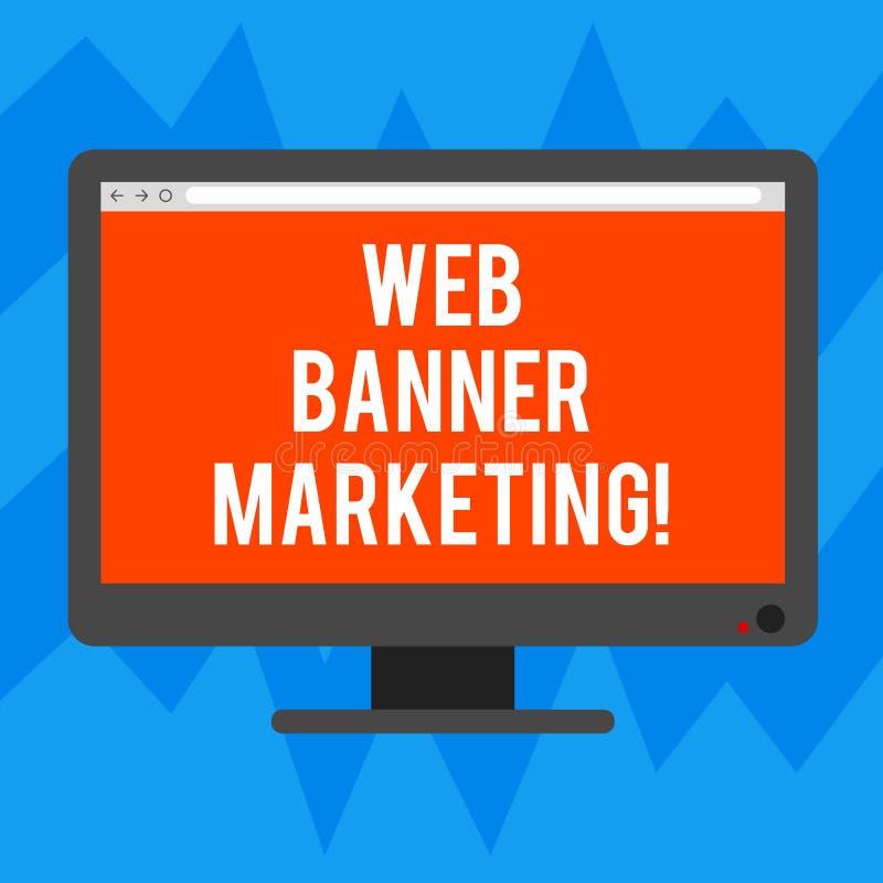 Tekst sieci sztandaru szyldowy pokazuje marketing Konceptualna fotografia powoduje osadzać reklamę w strony internetowej pustego  royalty ilustracja