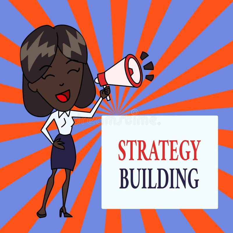 Tekst strategii szyldowy pokazuje Budowa? Konceptualna fotografia Wspiera kupienie i nabywanie inny platformy młoda kobieta ilustracji
