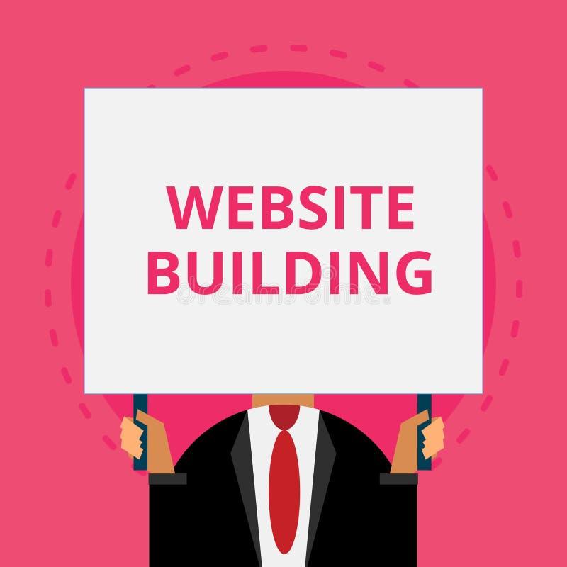 Tekst strony internetowej szyldowy pokazuje budynek Konceptualni fotografii narzędzia które typowo pozwolą budowę strony Staromod royalty ilustracja
