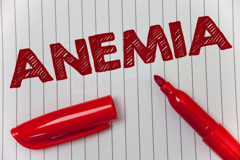 Tekst szyldowa pokazuje anemia Konceptualnej fotografii bezkrwawości choroby Krwionośnej straty Surowej choroby Żelaznego niedost obrazy stock