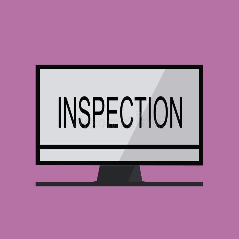 Tekst szyldowa pokazuje inspekcja Konceptualnej fotografii analizy lub egzaminu dochodzenia przeglądu Ostrożny cenienie ilustracji