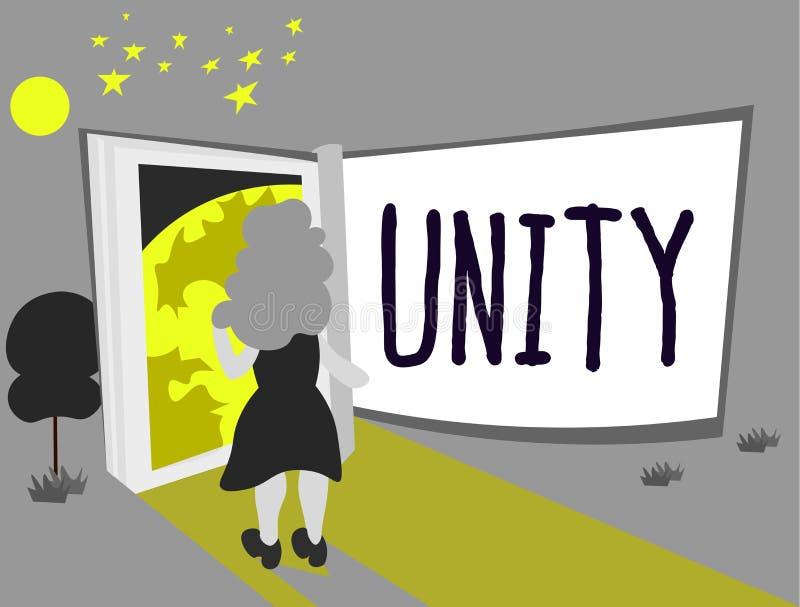 Tekst szyldowa pokazuje jedność Konceptualny fotografia stan jednoczący lub łączy jako cały zostać jeden osobą ilustracja wektor