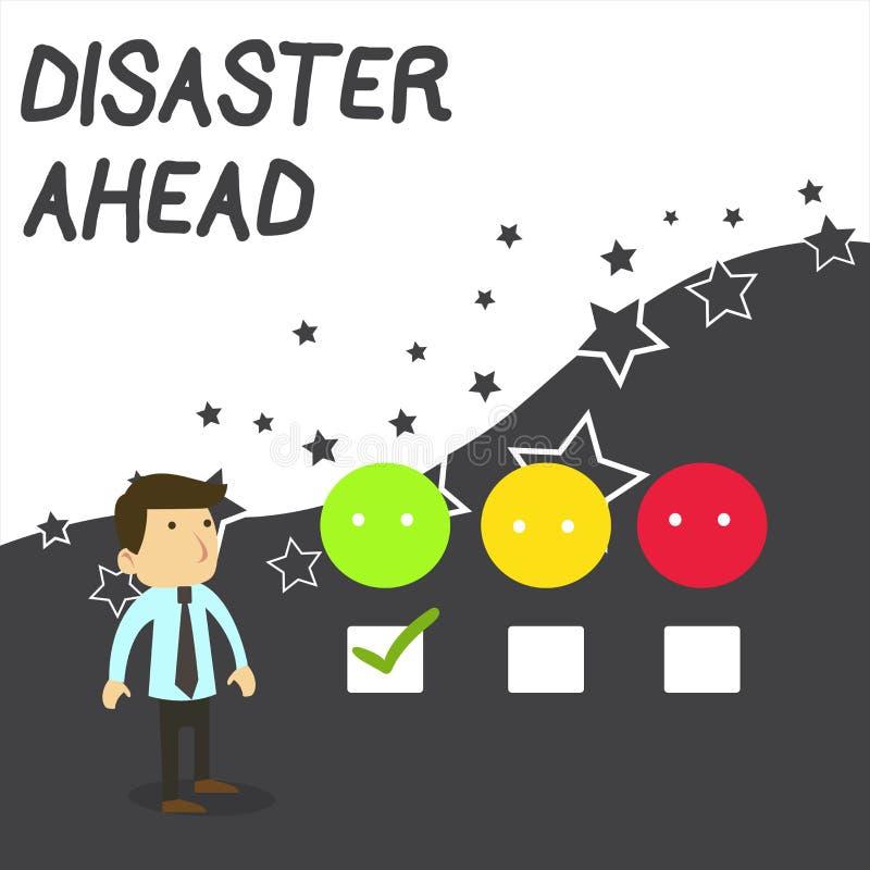 Tekst szyldowa pokazuje katastrofa Naprz?d Konceptualny fotografii ewentualności planowanie Przewiduje katastrofy lub incydentu b ilustracja wektor