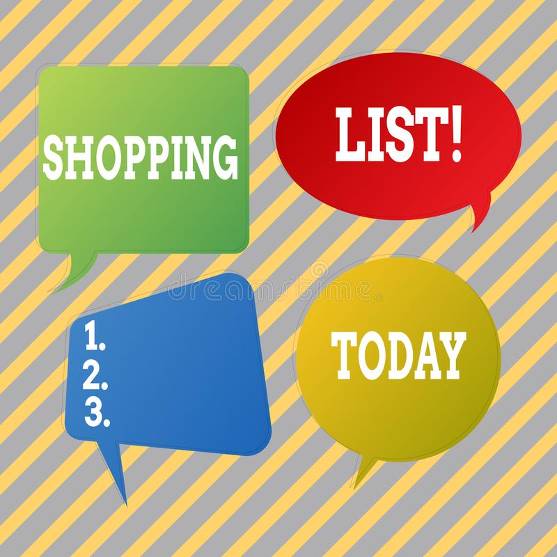 Tekst szyldowa pokazuje lista zakupów Konceptualni fotografia produktów sklepy spożywczy ty potrzebujesz kupować supermarket list royalty ilustracja