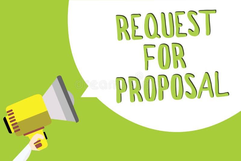 Tekst szyldowa pokazuje prośba Dla propozyci Konceptualny fotografia dokument zawiera licytować proces agencją lub firmą ilustracji