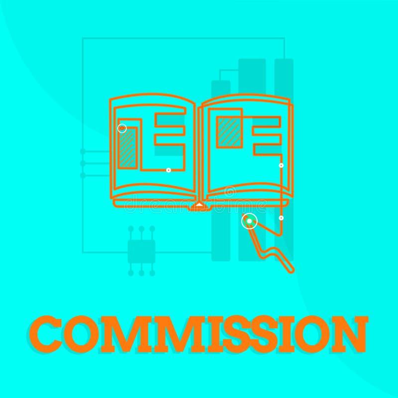Tekst szyldowa pokazuje prowizja Konceptualny fotografii instrukci comanalysisd rola dawać grupa lub demonstrować ilustracja wektor