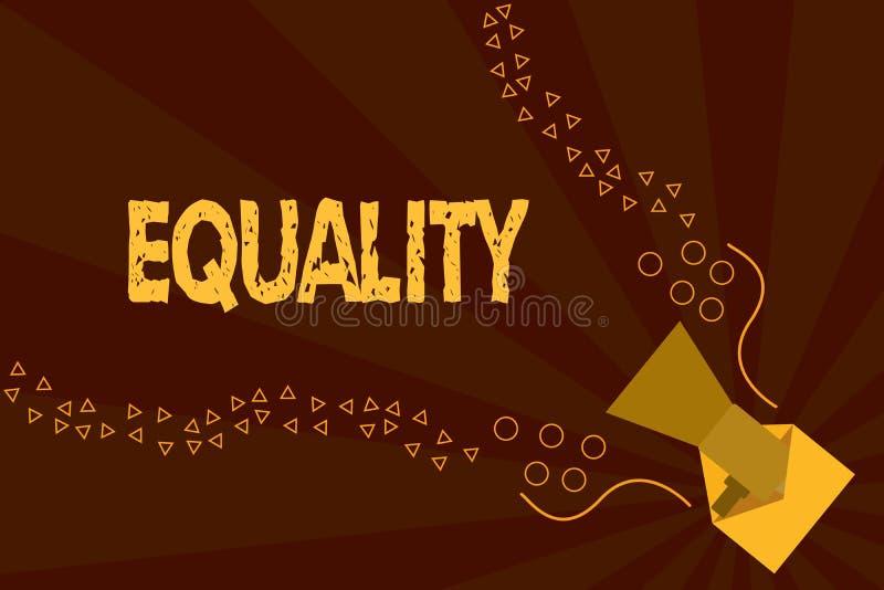 Tekst szyldowa pokazuje równość Konceptualny fotografia stan być równy w status sposobnościach lub dobrach szczególnie ilustracja wektor