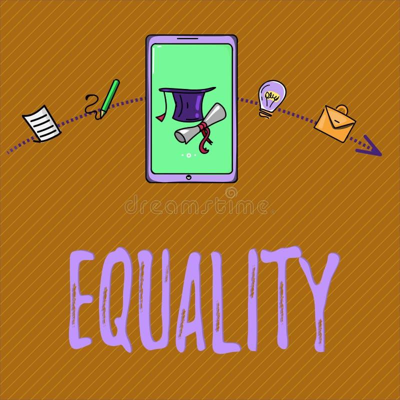 Tekst szyldowa pokazuje równość Konceptualny fotografia stan być równy w status sposobnościach lub dobrach szczególnie royalty ilustracja