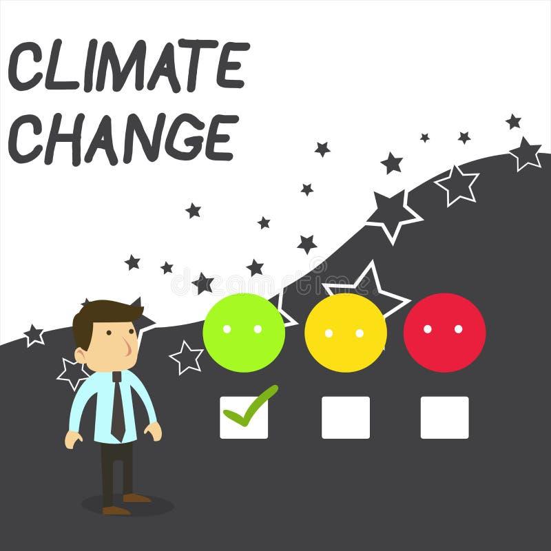 Tekst szyldowa pokazuje zmiana klimatu Konceptualny fotografia wzrost w globalnym średnim temperatury pogody transformacji bielu ilustracja wektor