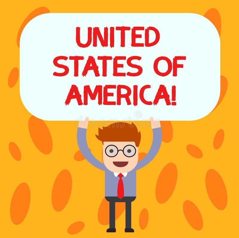 Tekst szyldowy pokazuje Ameryka Stany Zjednoczone Konceptualny fotografia kraj w północnej Kapitałowej washington dc mężczyzny po ilustracja wektor