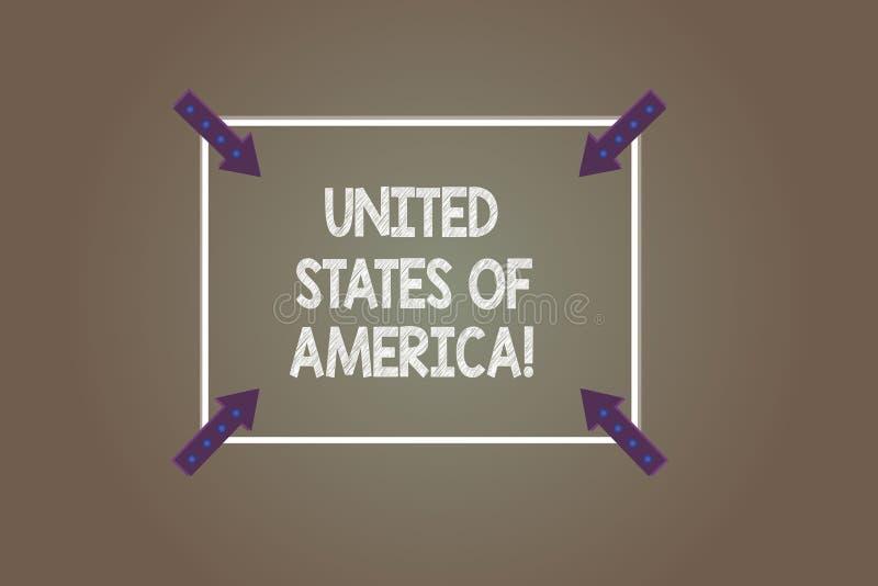 Tekst szyldowy pokazuje Ameryka Stany Zjednoczone Konceptualny fotografia kraj w północnym Kapitałowym washington dc kwadrata kon ilustracja wektor