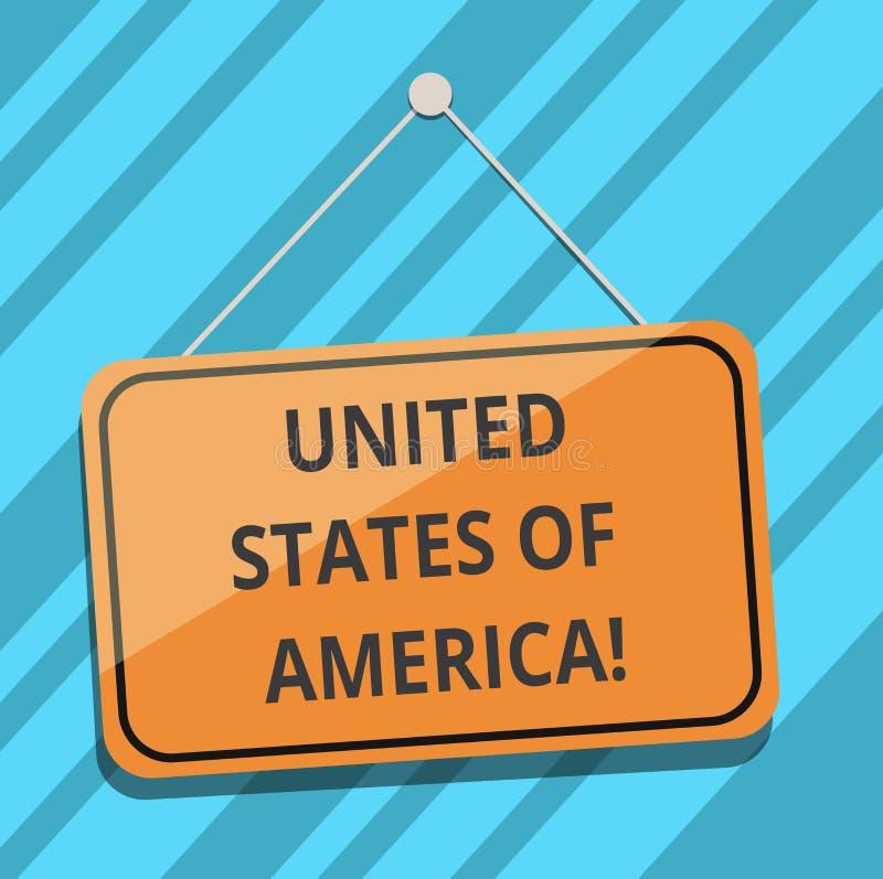 Tekst szyldowy pokazuje Ameryka Stany Zjednoczone Konceptualny fotografia kraj w północnym Kapitałowym washington dc pustego miej ilustracja wektor