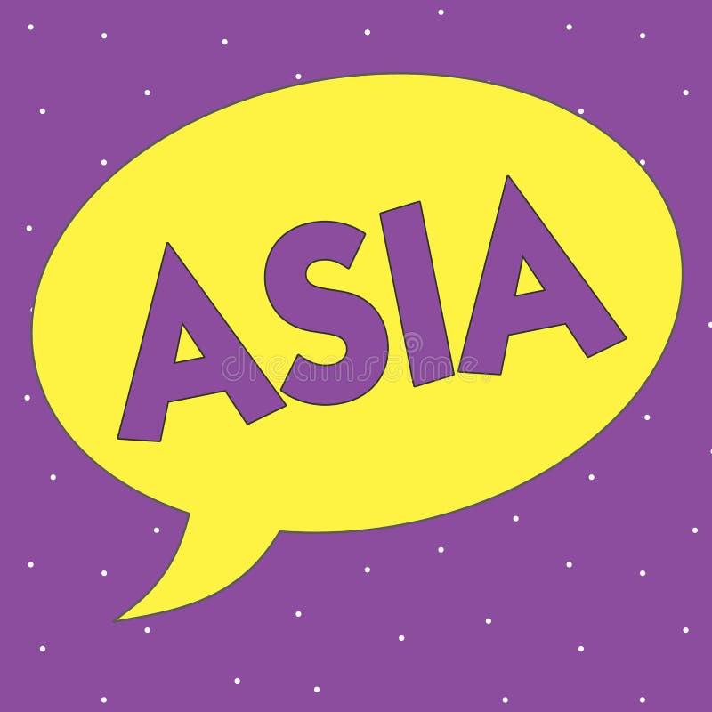 Tekst szyldowy pokazuje Azja Konceptualna fotografia Wielka, ludny kontynent Wschodni i północna półkula royalty ilustracja