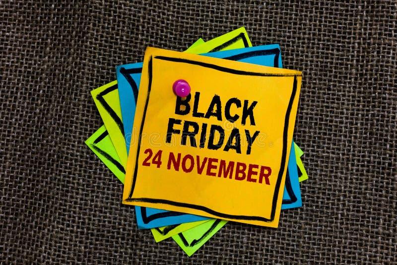 Tekst szyldowy pokazuje Black Friday 24 Listopad Konceptualny fotografii Specjalnych sprzedaży dziękczynienie pomija Poremanentow obraz royalty free