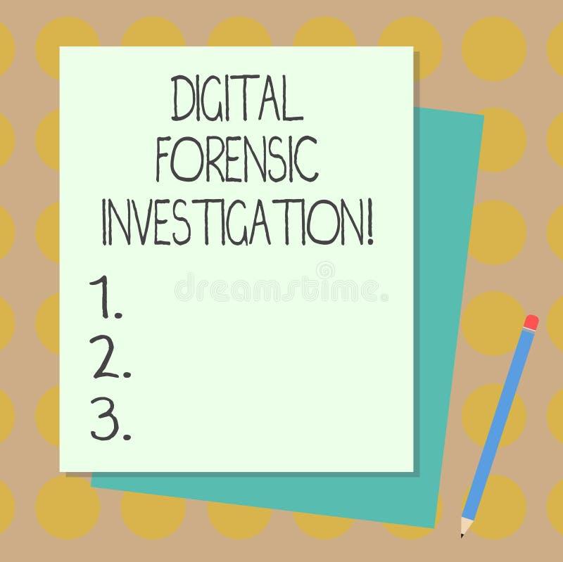Tekst szyldowy pokazuje Cyfrowy Sądowy dochodzenie Konceptualny fotografii wyzdrowienie informacja od komputer sterty puste miejs ilustracji